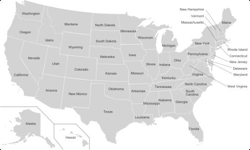 USA államai angolul