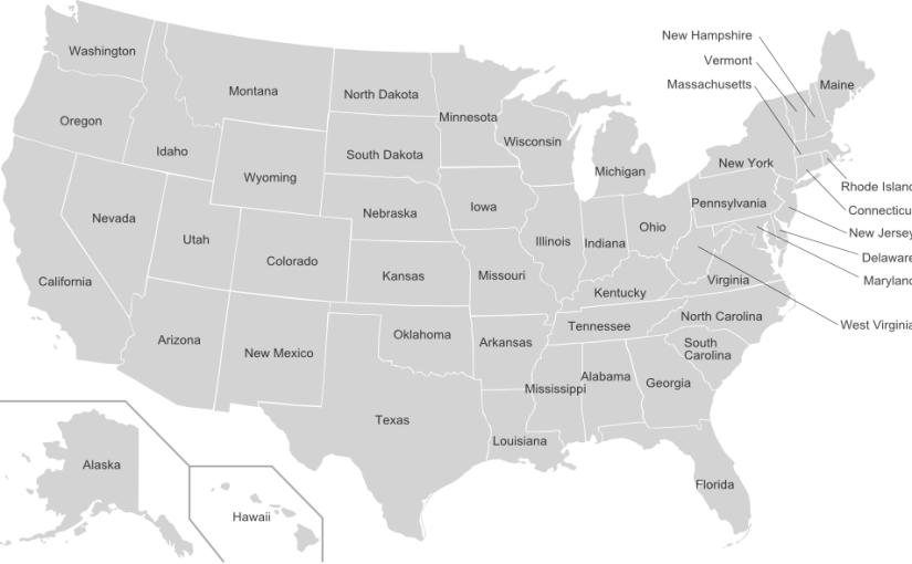 amerika állam térkép USA államai, amerikai államok   Amerikai utazásom amerika állam térkép